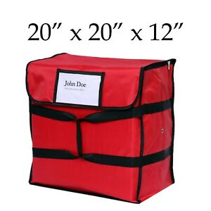 Nylon Insulated Red Pizza Delivery Bag 20 X 20 X 12 Restaurant Linen Store