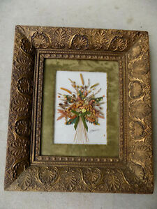 Antique Gesso Picture Frame Deep Inset With Dried Flowers And Velvet Mat