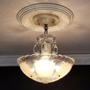 852b Vintage Antique Ceiling Light Glass Shade Fixture Lamp Crystal Chandelier