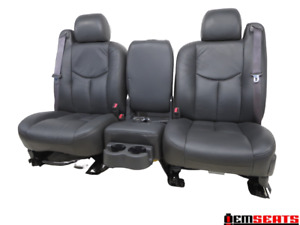 Gm Silverado Sierra Charcoal Leather Front W Jump Seat 2003 2004 2005 2006