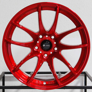 4 new 18 Vors Tr4 Wheels 18x8 5 5x100 35 Candy Red Rims 73 1