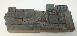 17 Lot Letterpress Printing Printer Block Press Stamp Vintage Wood Metal