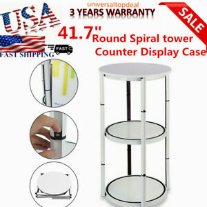 41 7 Round Spiral Counter Display Case Rack Aluminum Stand W Shelves Panels