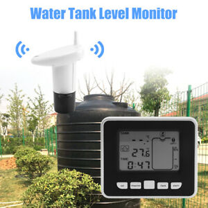 Ultrasonic Water Tank Liquid Depth Level Meter Sensor Temperature Display Gauge
