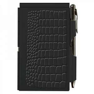 Wellspring Pocket Flip Notes Note Pad Black Croc Cover With Silver Pen New