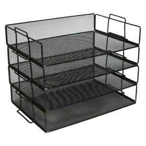 Stackable Paper Tray Desk Organizer 4 Tier Metal Mesh Letter Organizers Fo N7f4