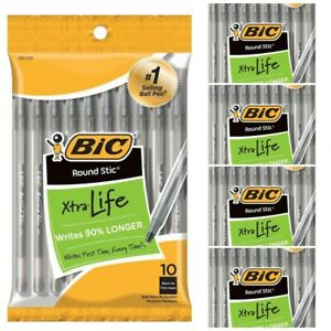 Lot Of 5 Bic Round Stic Pens 50 Pens Total Black Ink