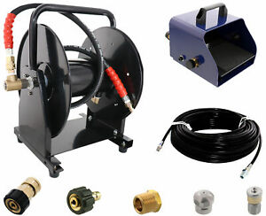 Scheiffer Sewer Jetter Kit Foot Pedal Hose Reel 1 8 X 150 Hose And Nozzles