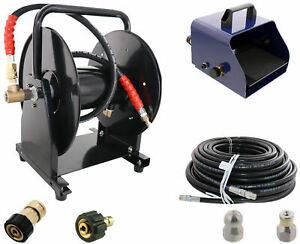 Scheiffer Sewer Jetter Kit Foot Pedal Hose Reel 3 8 X 150 Hose And Nozzles