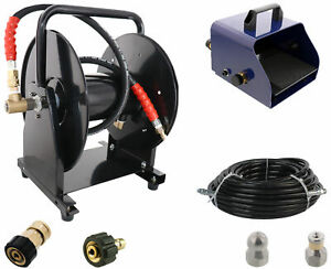 Scheiffer Sewer Jetter Kit Foot Pedal Hose Reel 3 8 X 100 Hose And Nozzles
