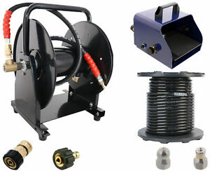 Scheiffer Sewer Jetter Kit Foot Pedal Hose Reel 3 8 X 200 Hose And Nozzles