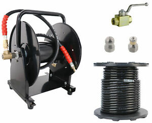 Scheiffer Sewer Jetter Kit Ball Valve Hose Reel 3 8 X 200 Hose And Nozzles