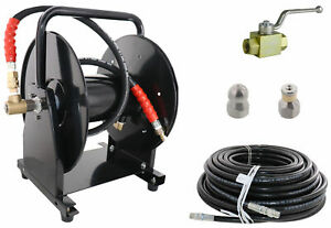 Scheiffer Sewer Jetter Kit Ball Valve Hose Reel 3 8 X 150 Hose And Nozzles