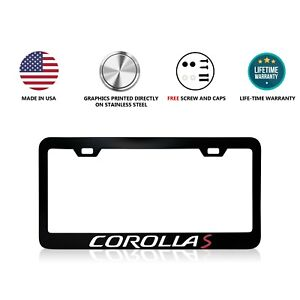 Toyota Corolla S Stainless Steel Black License Plate Frame