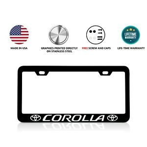 Toyota Corolla Stainless Steel Black License Plate Frame