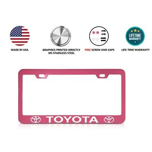Toyota Stainless Steel Pink License Plate Frame