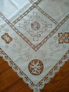 Vintage Antique Needle Lace Linen Tablecloth Unusual