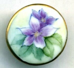 Pretty Hand Painted China Porcelain Button Clematis Purple Flowers Gold Rim