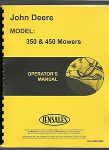 John Deere 350 450 Mounted Sickle Bar Mower Owners Operators Manual Ome58660