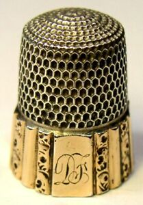 Antique Simons Bros Gold Band Sterling Silver Thimble Fluted Octagon Df Mngm