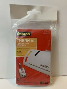 Scotch Thermal Laminating Pouches 2 X 4 10 pack With Clips 3m