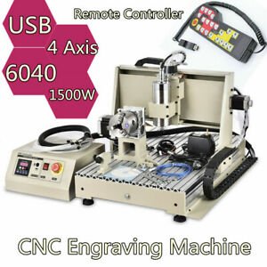 Usb 1 5kw 4axis Cnc 6040 Router 3d Engraver Metal Engraving Milling Machine rc
