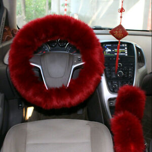 3pcs Fur Car Steering Wheel Cover Wool Furry Fluffy Thick Mature Red Wine Color