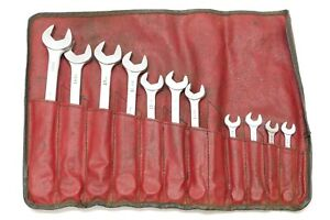 Vintage Mac Tools Metric Combination Wrench Set 11 Piece 7mm 19mm Chrome