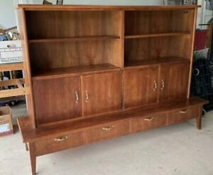 Danish Mid Century Modern 2 Piece Wall Unit Shelves Cabinets Drawers Pickup Only