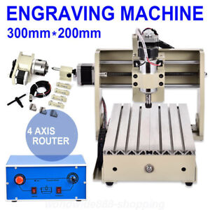 4 Axis 3020 Cnc Router Engraver Engraving Machine Metal Woodworking Milling 300w