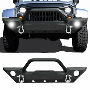 Fit 07 18 Jeep Wrangler Jk Front Bumper Winch Plate D Rings Led Light Housing