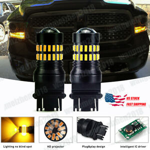 Amber 3157 3057 Led Front Turn Signal Light Bulbs For Dodge Ram 1500 2500 3500