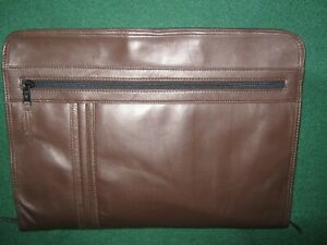 Vtg Scully Brown Soft Leather Zipper Portfolio organizer made In Italy Nwt 135