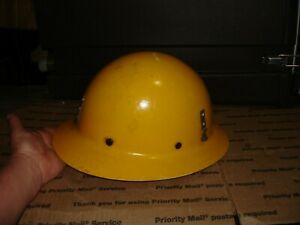 Vintage Msa Fiber Glass Yellow Hard Hat With Suspension Yellow Glass Fiber