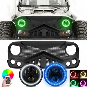 For Jeep Wrangler Jk 07 18 Front Bumper Grille Grill 7 Rgb Halo Led Headlight