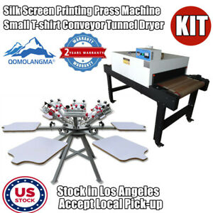 6 Color 6 Station Screen Printing Machine With 220v 4800w Conveyor Tunnel Dryer