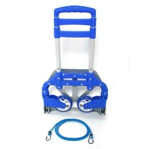 Portable Blue Luggage Cart Folding Dolly Push Truck Hand Collapsible Trolley