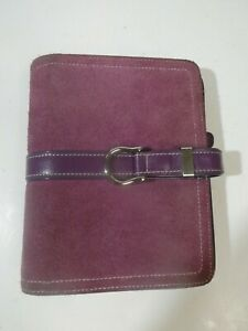 Franklin Covey Compact Lilac Buckle Cow Suede Leather Binder Planner