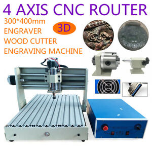 4 Axis Cnc 3040 Router Engraver Metal Wood Cutting Drill milling Machine 400w Ce