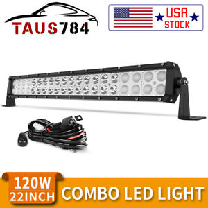 22inch 120w Led Light Bar Flood Spot Combo For Offroad Suv Atv 4wd Wiring Kit