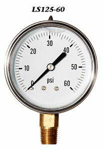 New Hydraulic Liquid Filled Pressure Gauge 0 60 Psi 2 5 Face 1 4 Lm