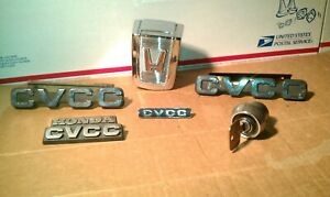 1973 1979 Honda Civic Cvcc Emblems And Trunk Lock With Key Lot Oem