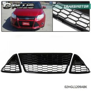 3pcs For Ford Focus 2012 2013 2014 Honeycombed Front Bumper Lower Grille Grills