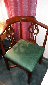 Solid Mahogany Chippendale Corner Chair