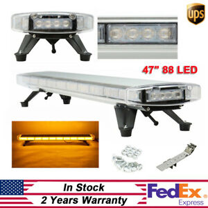 47 88 Led Light Bar Beacon Flash Light Tow Truck Top Roof Strobe Response Amber