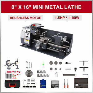 Upgraded Mini Metal Lathe 8 16 1100w Metal Gear Brushless Motor Full Sets