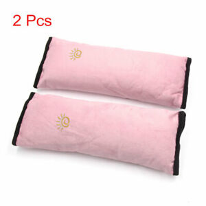2pcs Pink Safety Strap Cover Pillow Seat Belt Pad Shoulder Cushion For Car