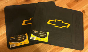 2 New Chevrolet Chevy Gm Bowtie Car Truck Suv Black Rubber Floor Utility Mats