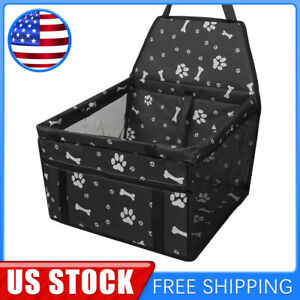 Dog Front Seat Cover Pet Seat Cover Protector W Paw Prints Black For Car Vehicle
