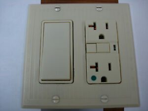 Vintage Uniline Ivory Decora Gfci Switch Outlet Wall Cover Plate 2 Gang Bryant